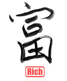 Calligraphy word, rich. Chinese calligraphy, rich, isolated on white background Stock Photography