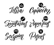 Calligraphy Zodiac Signs Set. Hand drawn horoscope astrology symbols, letterings grunge texture design, vector illustration white Stock Image