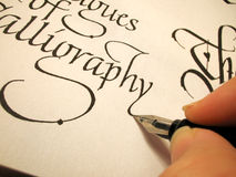 Calligraphy3. Writing in calligraphy letter form Stock Photography