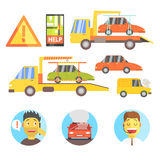Callin For Help Evacuating The Car Infographic Stock Image