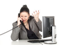 Calling angry fat businesswoman Stock Photo