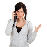 Calling angry young woman Stock Photos