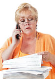 Calling about benefits Stock Image