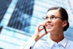 Calling brunette Stock Photo