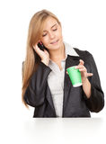 Calling business woman with mobile phone Royalty Free Stock Photos