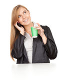 Calling business woman with mobile phone. White background Royalty Free Stock Images