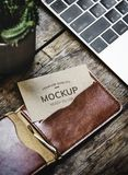 Calling card mockup in a wallet royalty free stock image