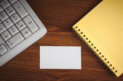 Calling card on the wooden desk Royalty Free Stock Image
