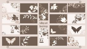 Calling cards set. Decorative floral calling cards set Royalty Free Stock Images