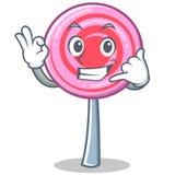 Calling cute lollipop character cartoon. Vector illustration Stock Images