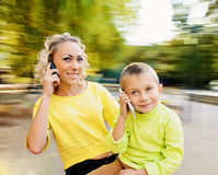 Calling Family Royalty Free Stock Image