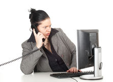 Calling fat businesswoman Royalty Free Stock Image