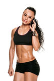 Calling fitness woman Royalty Free Stock Photo