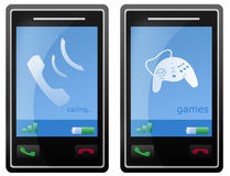 Calling and Games Mobile phone. Isolated black mobile phone with touch screen cellular with white background, for sms texting text, calling and games Royalty Free Stock Image
