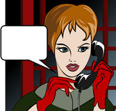 Calling girl. Illustration with the young girl who speaks in a phone booth at night drawn in comics style vector illustration