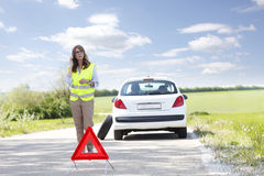 Calling for help on the road Royalty Free Stock Images