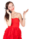 Calling lady in red dress Stock Image