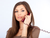 Calling lady secretary Royalty Free Stock Images