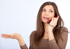 Calling lady secretary Royalty Free Stock Image
