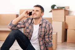 Calling from a new house. Royalty Free Stock Photo