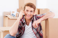 Calling from new house. Royalty Free Stock Photo