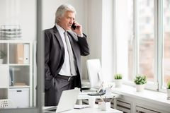 Calling in office. Elegant mature businessman with smartphone standing by office window and calling Stock Photo