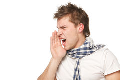 Calling out. Side view of a male shouting sideways, isolated on white Stock Image