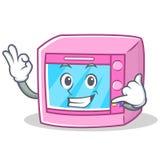 Calling oven microwave character cartoon Stock Photos