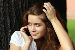 Calling by phone Royalty Free Stock Images
