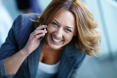 Calling by phone Stock Image