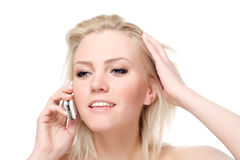 Calling by phone stock photos