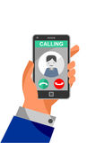 Calling on the phone. Drawing of a ringing mobile phone with image of caller. Life choices metaphor- to accept or reject Royalty Free Stock Image