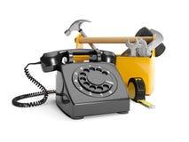 Calling plumbing repair service Stock Photography