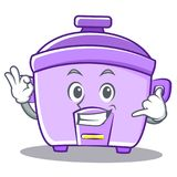 Calling rice cooker character cartoon Royalty Free Stock Image