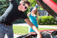 Calling for roadside assistance Stock Image
