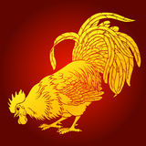 Calling rooster gold on red background Royalty Free Stock Photo