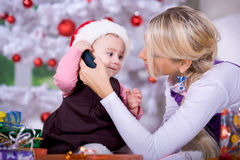 Calling Santa Royalty Free Stock Photography