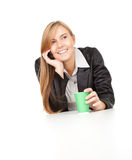 Calling secretary with mobile phone Royalty Free Stock Image