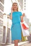Calling after shopping Stock Photos