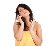 Calling smoking woman Stock Image