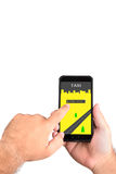 Calling a taxi on the smartphone. Mobile taxi driver call royalty free stock photography