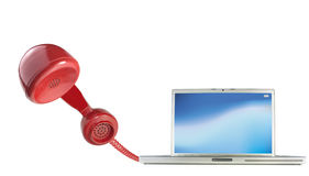 Calling by telephone over the internet. Using a computer Royalty Free Stock Images