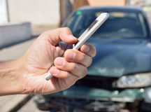 Calling to my insurance car Stock Image