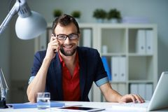Calling and typing Royalty Free Stock Images