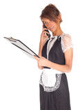 Calling waitress keeping black clipboard Stock Photos