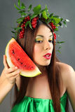 Calling by watermelon Stock Image