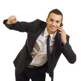 Calling With Cellphone And Gesturing Success Stock Photography