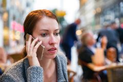 Calling woman in city Stock Photos