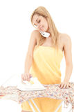 Calling woman ironing clothes Stock Photos