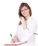 Calling and writing secretary Stock Photo